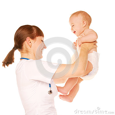 Pediatrician and baby laughing.