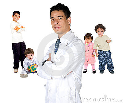 Pediatrician with children