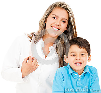 Pediatrician with a patient
