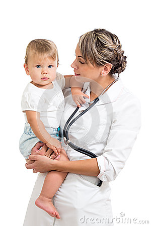 Pediatrist doctor holding baby on her hands