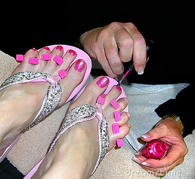 Free Pedicure - Pink Toenails Stock Images - 166654