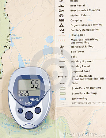 Pedometer Over Map