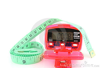 Pedometer with tape measure