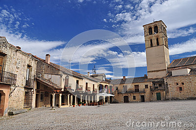 Spanish village Pedraza, main square. Castile, Spain