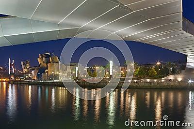 Pedro Arrupe footbridge and Guggenheim museum Editorial Photography