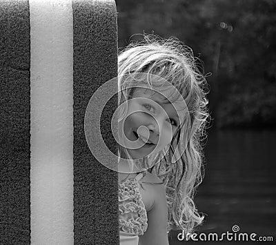 Peeking Girl in Black & White