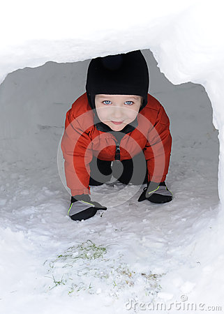 Peeking through Igloo Doorway