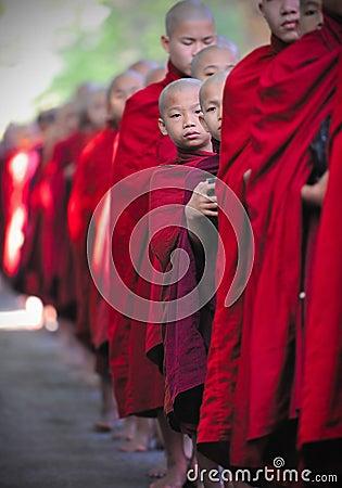 Peeking monk,myanmar,(burma) Editorial Stock Image