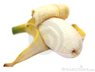 Peeled banana fruit with selective focus
