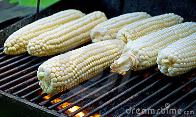 Peeled raw corns on the grill