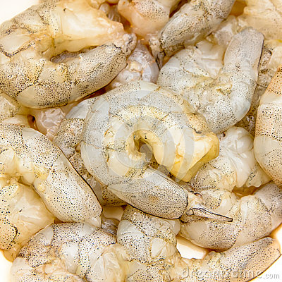 Peeled shrimps prepared for cooking