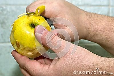 Peeling apple.