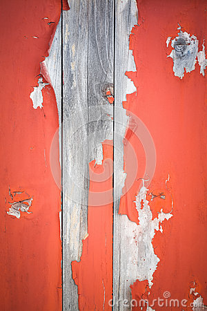 Peeling paint on aging wooden door