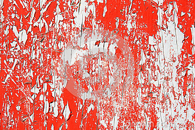 Peeling red paint background