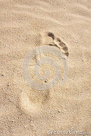 Pegada na areia. Duna, Fuerteventura.
