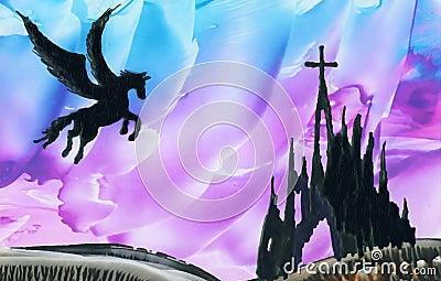 Pegasus above ruins