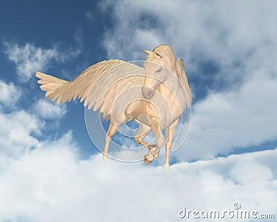 Pegasus the Flying Horse of Greek Mythology looking down through ...