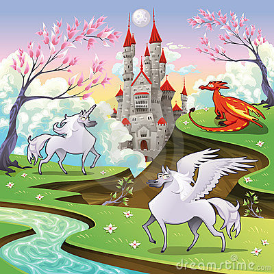 Pegasus, unicorn and dragon in a mythological land