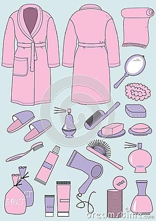 Peignoir et objets pour la salle de bains images libres de droits image 29 - Objet de salle de bain ...