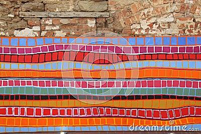 peinture color e de bandes sur un mur en pierre photo stock image 22297480. Black Bedroom Furniture Sets. Home Design Ideas