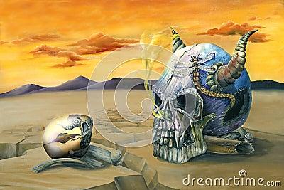 Peinture d oeufs et de crâne