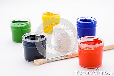 peinture dans des pots et la brosse photo stock image. Black Bedroom Furniture Sets. Home Design Ideas
