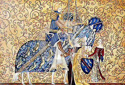 peinture de medival de roi et de reine avec le cheval bleu image libre de droits image 27413316. Black Bedroom Furniture Sets. Home Design Ideas