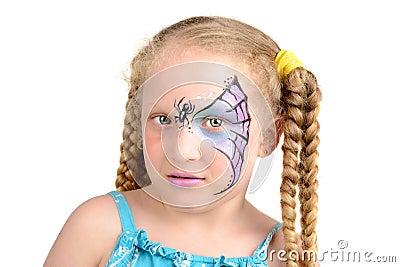 Peinture de visage toile d 39 araign e image stock image - Maquillage toile d araignee visage ...