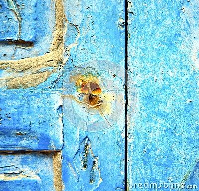 Peinture d pouill e dans la porte en bois bleue et le clou rouill photo stock image 56605653 for Peinture porte bois