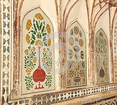 peintures de mur royales en amber fort photos libres de droits image 31322968. Black Bedroom Furniture Sets. Home Design Ideas