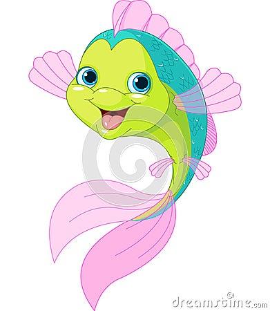 Peixes bonitos dos desenhos animados