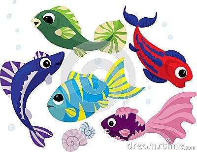 Peixes coloridos brilhantes dos desenhos animados ajustados