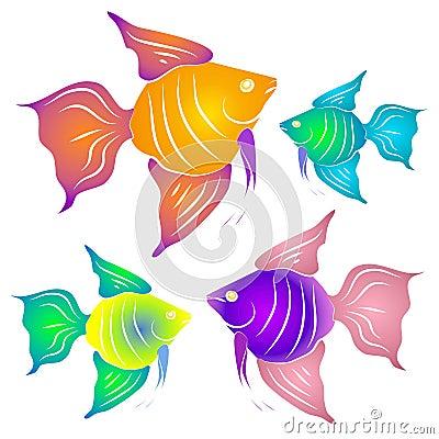 Peixes tropicais coloridos Clipart