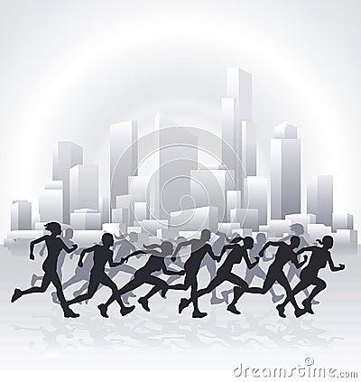 Pejzaż miejski biegacze