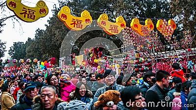Peking, China 6. Februar 2014: Viele Besucher, die Spielwaren an Ditan-Tempel angemessen während des Frühlingsfests in Peking, Ch stock video footage