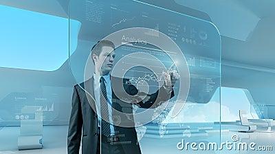 Pekskärmen för teknologi för affärsmanpressgrafen har kontakt den framtida