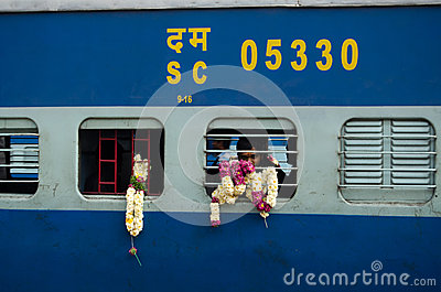 Pelgrim op trein, India Redactionele Afbeelding