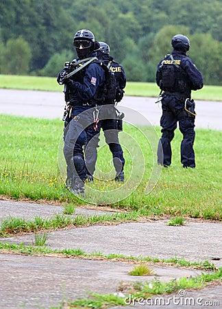 Pelotón de la policía. Fotografía editorial