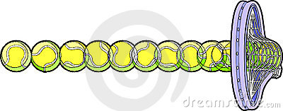 Pelota de tenis que golpea la raqueta
