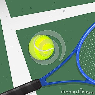 Pelota de tenis y raqueta