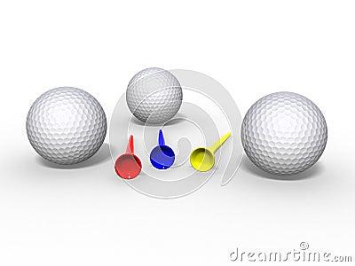 Pelotas de golf y tes