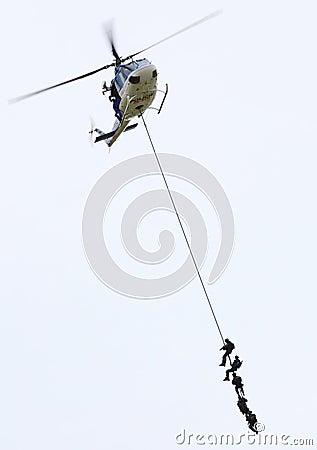 Pelotão da polícia. Foto Editorial