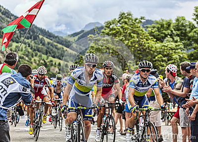 The Peloton on Alpe D Huez Editorial Photo
