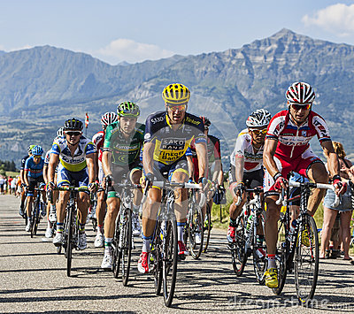 The Peloton in Alps Editorial Stock Image