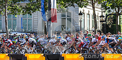 The Peloton in Paris Editorial Photography