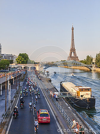 The Peloton in Paris Editorial Stock Image