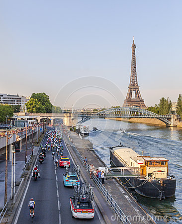 The Peloton in Paris Editorial Photo