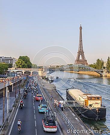 The Peloton in Paris Editorial Photo