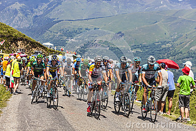 The Peloton in Pyrenees Mountains Editorial Photography