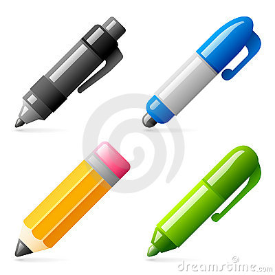 Free Pen And Pencil Icons Royalty Free Stock Image - 10768326